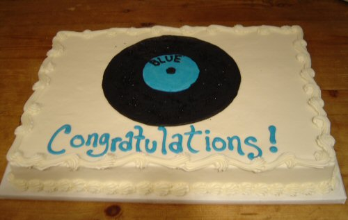 "The cake from the opening night of ""Blue"""
